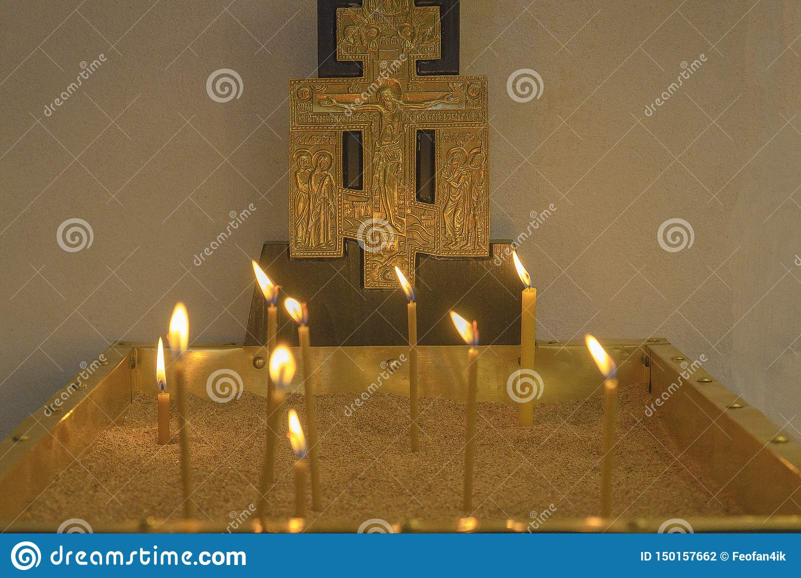 Basilica Of The Nativity. Burning candles in the Church on the main altar
