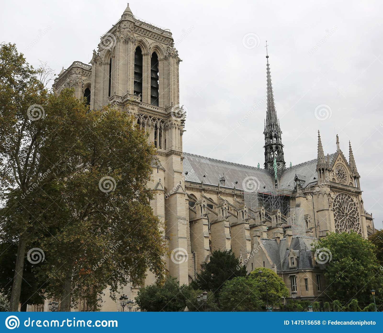 Basilica Of Notre Dame In Paris Before Fire Stock Photo Image Of