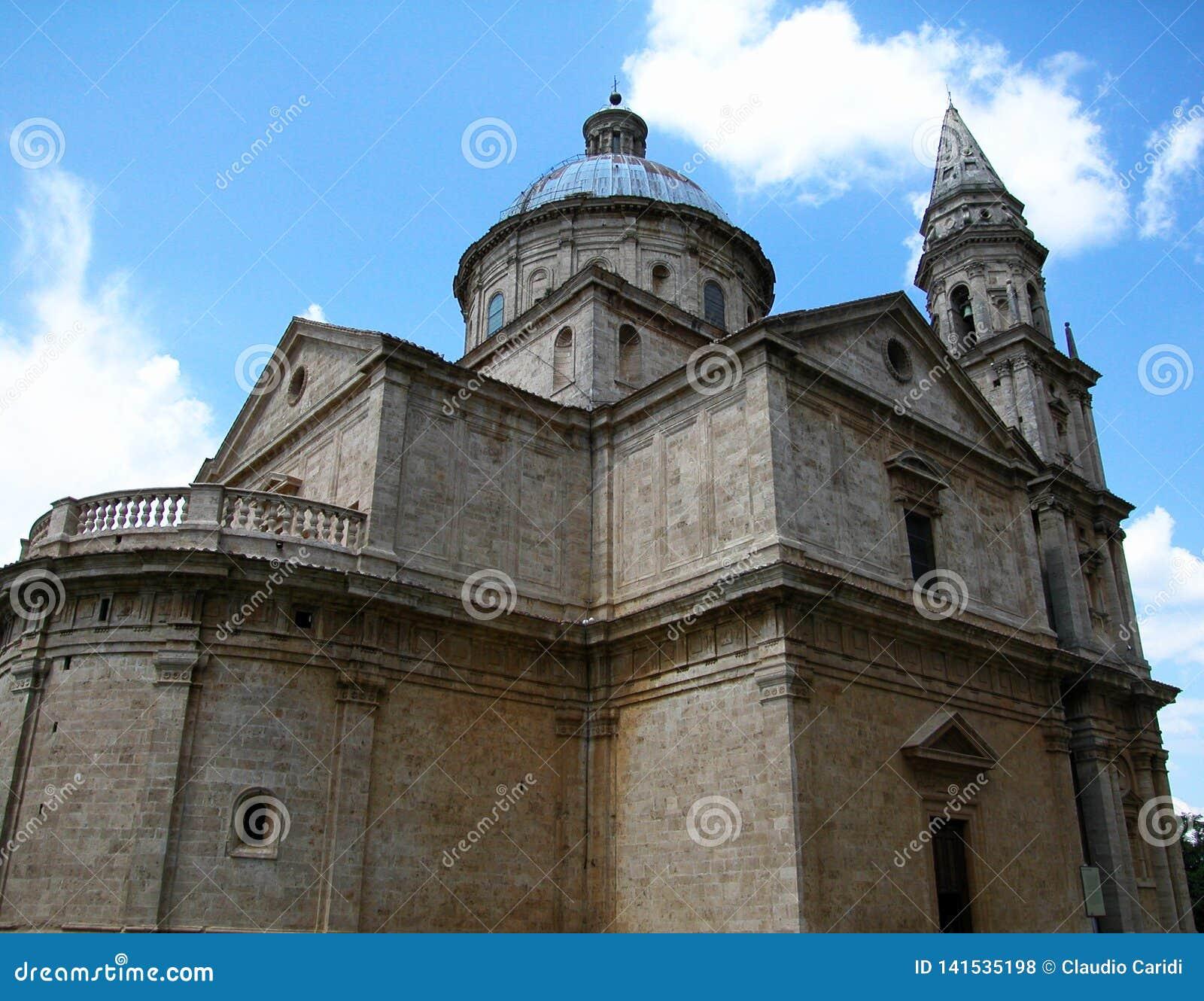 Basilika av Madonna di San Biagio i Montepulciano, Tuscany, Italien