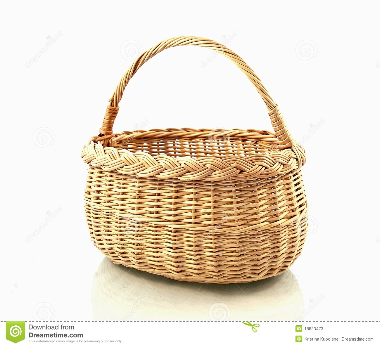 Yellow wood basket on white background.