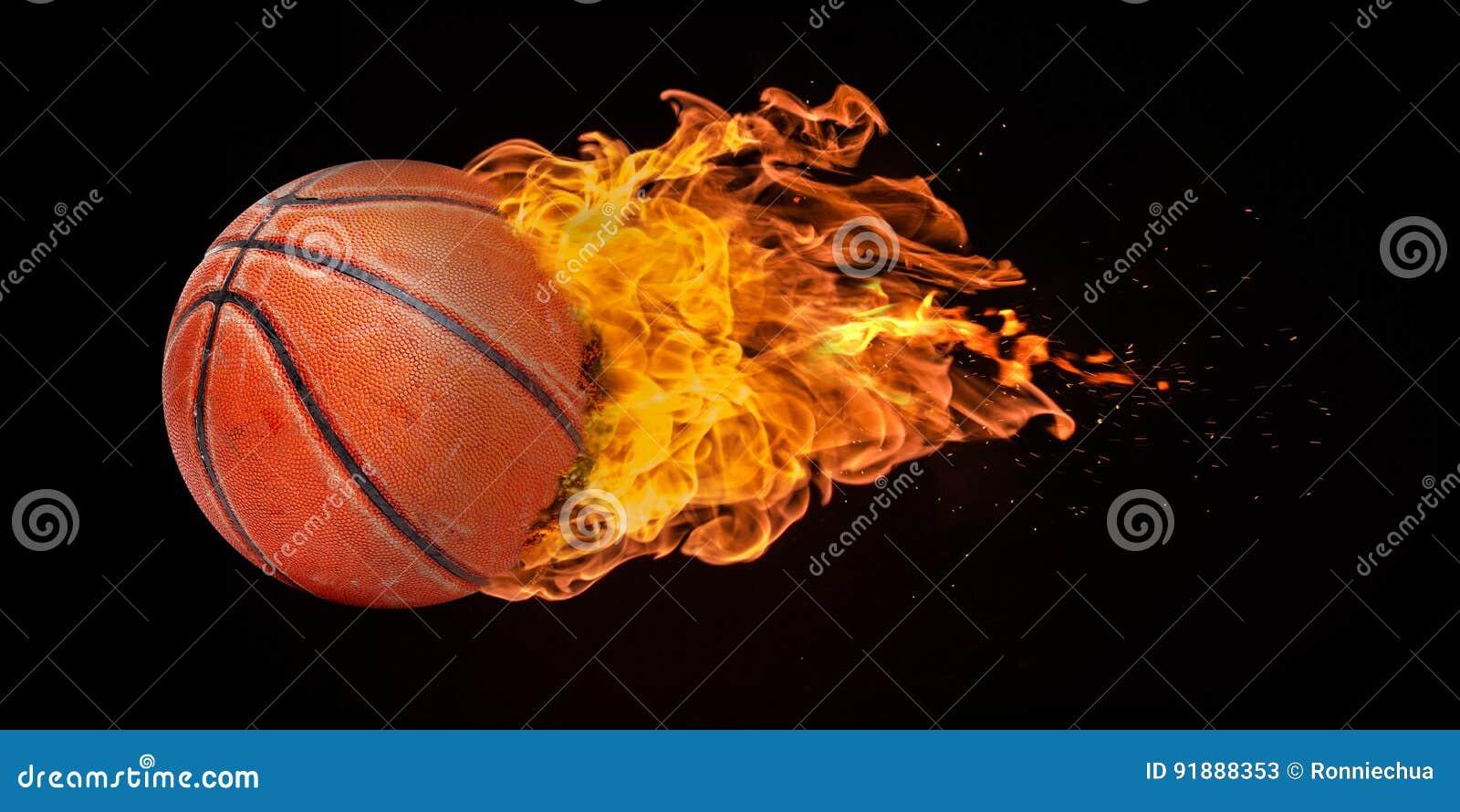 Basket-ball de vol englouti en flammes