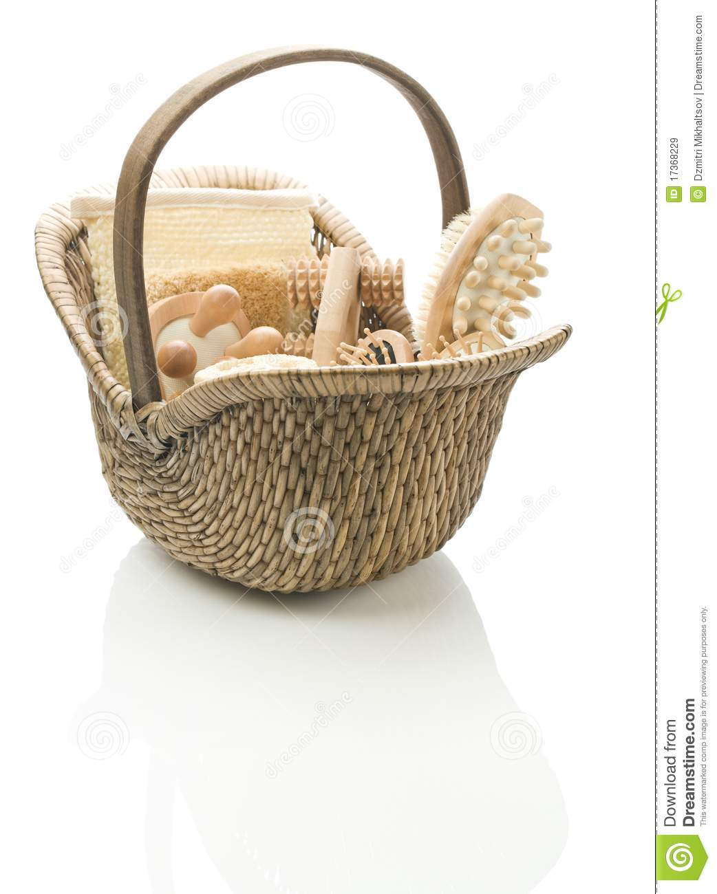 Basket with bath accessories royalty free stock images for Basket bathroom accessories