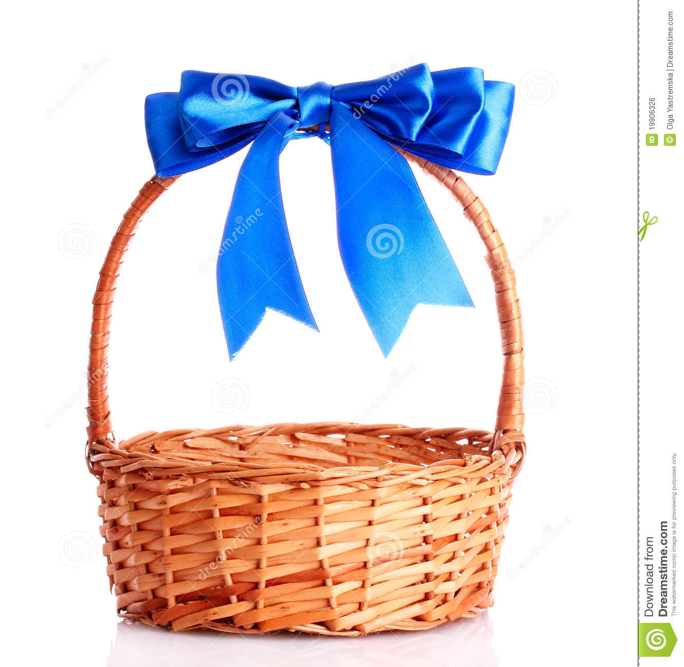 Basket With A Blue Bow Stock Photo Image Of Willow Rural