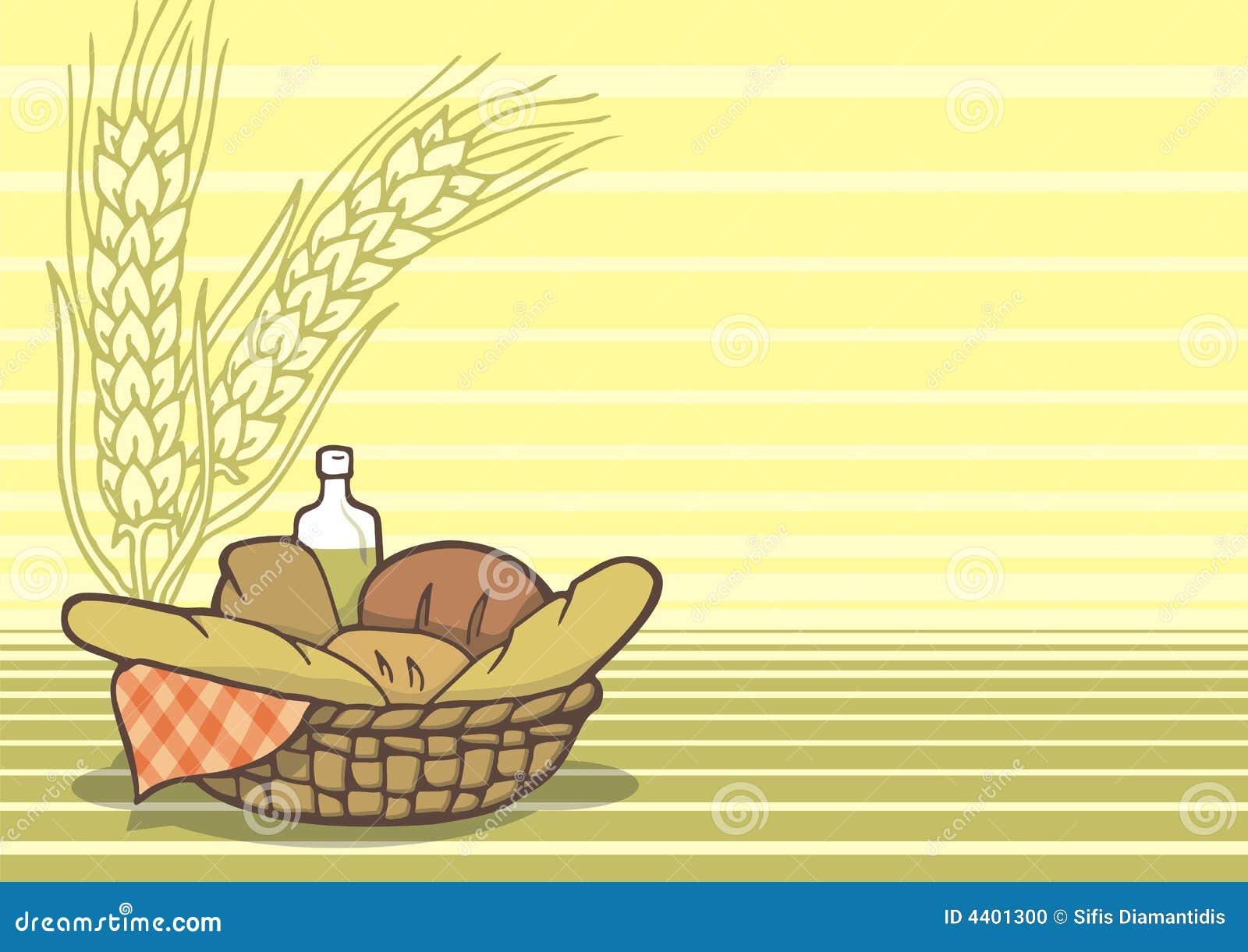 Basket of breads background