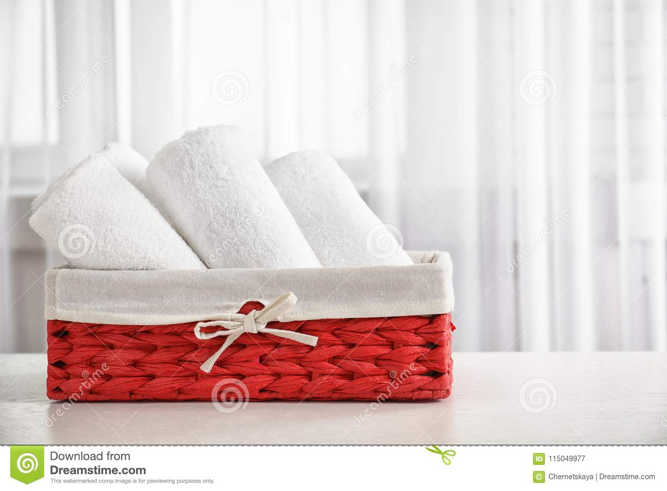 Basket with clean towels