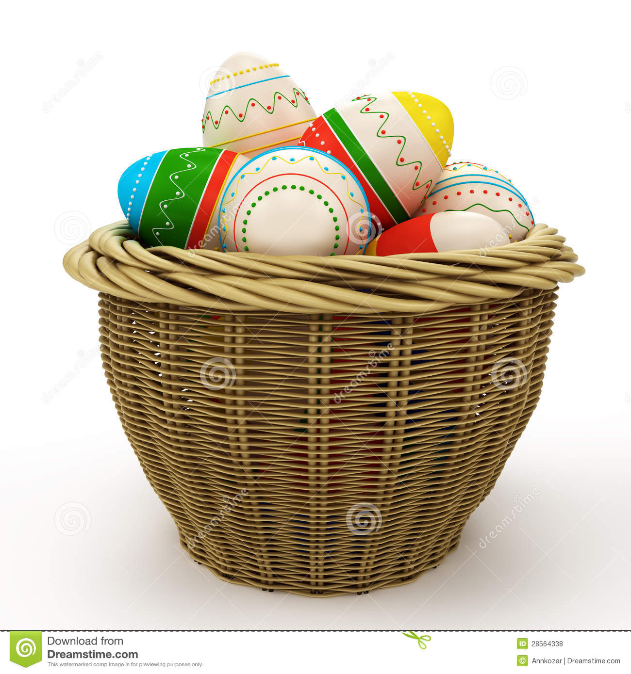 Basket With Colorful Painted Easter Eggs Royalty Free