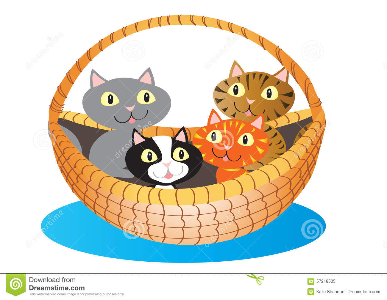 Cat Basket Clipart : A basket of cute kittens stock vector image