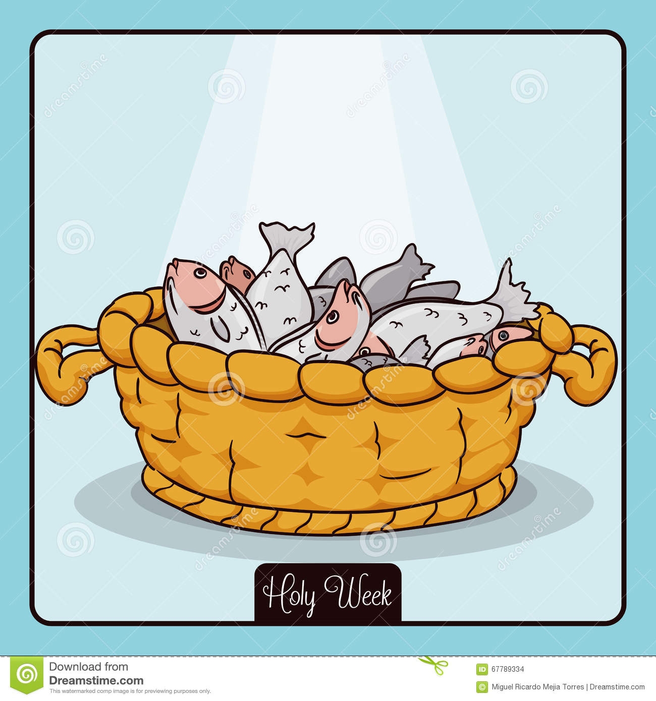 Basket with Fishes for Multiplication Miracle of Jesus, Vector Illustration