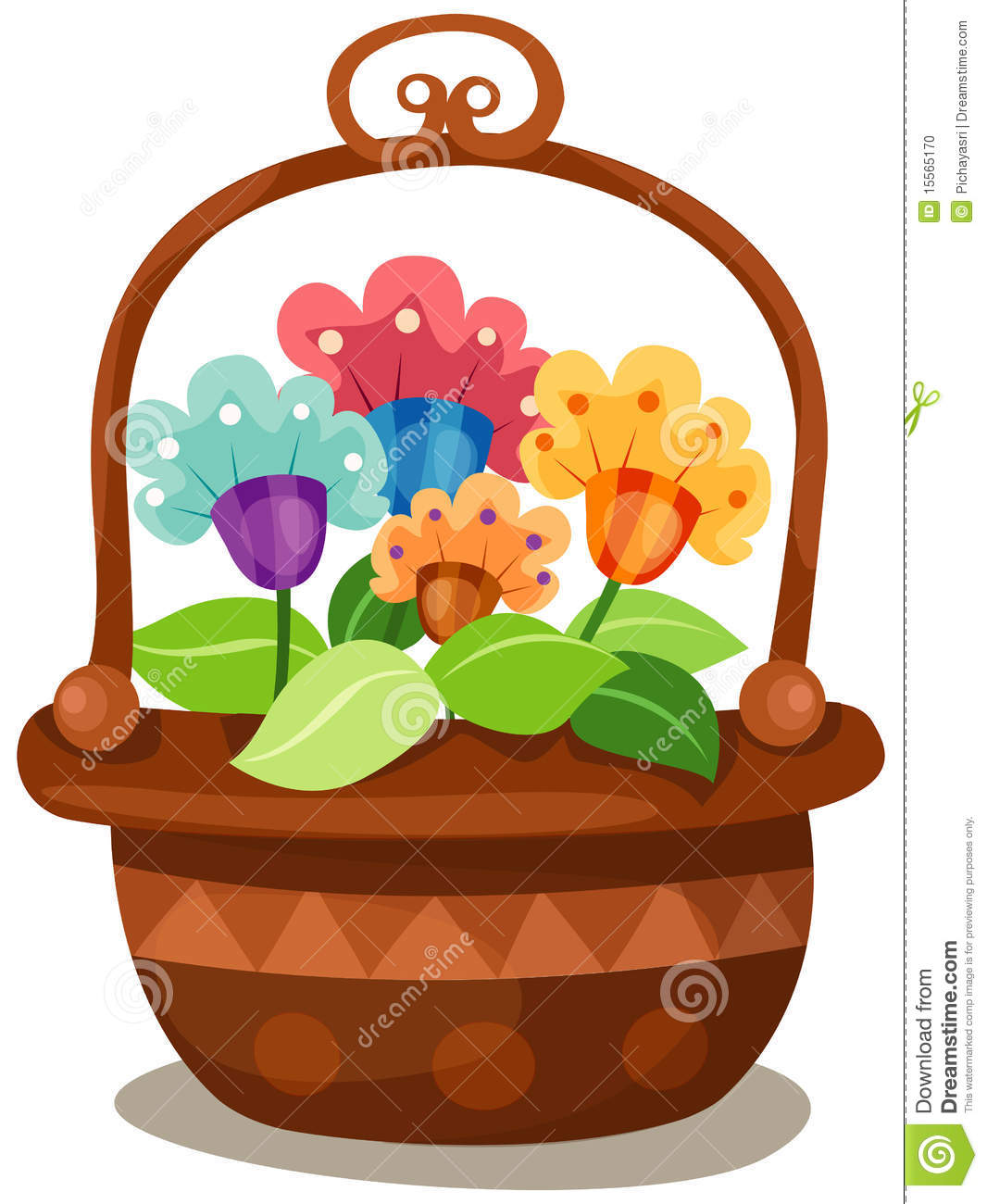 Clipart Flower Baskets : Basket of flowers stock photo image