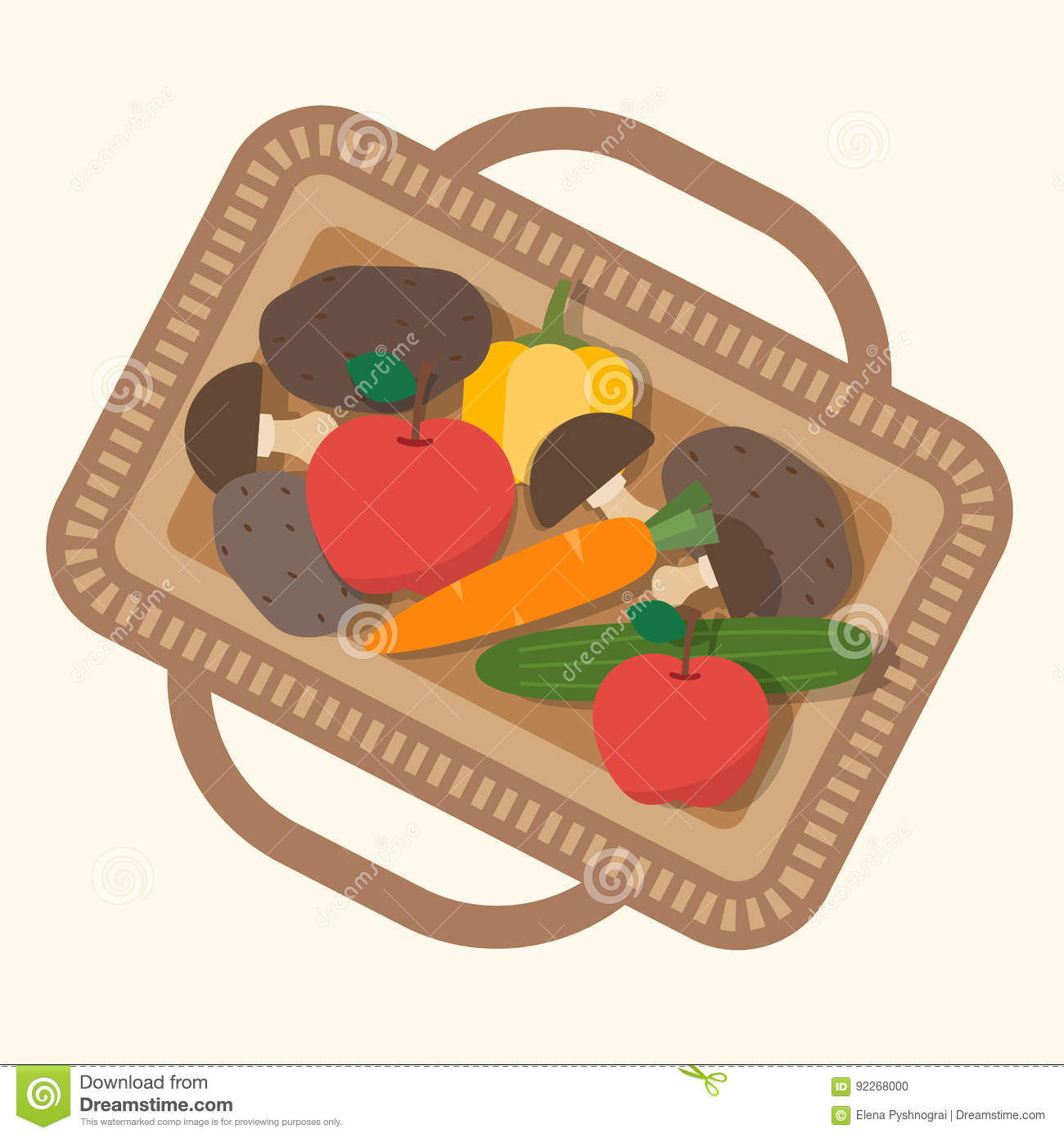 Plant top view vector in group download free vector art stock - Basket Flat Food Illustration Top Vector View