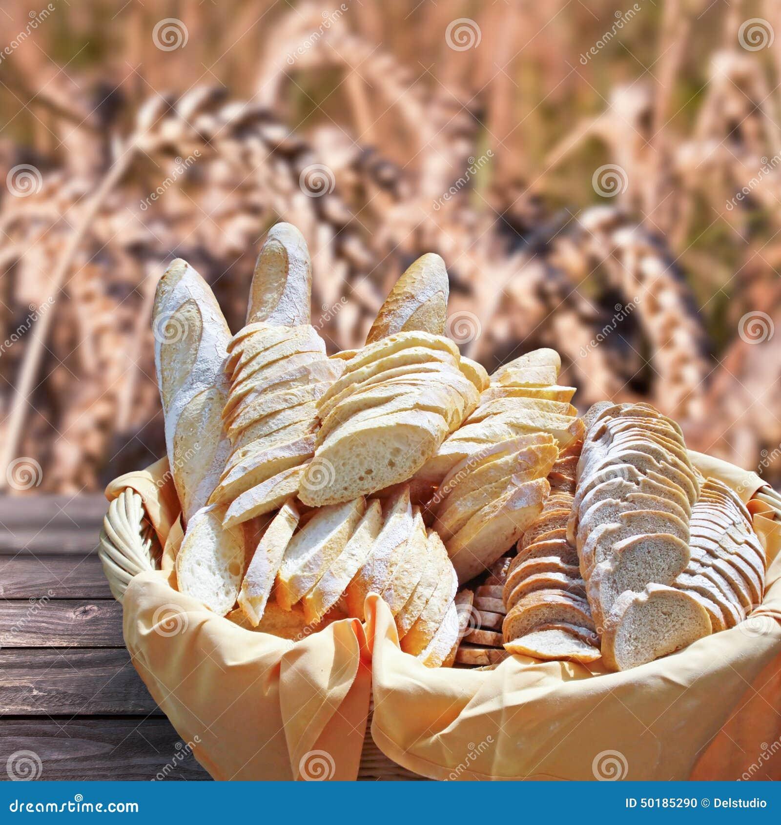 Basket of fresh bread,