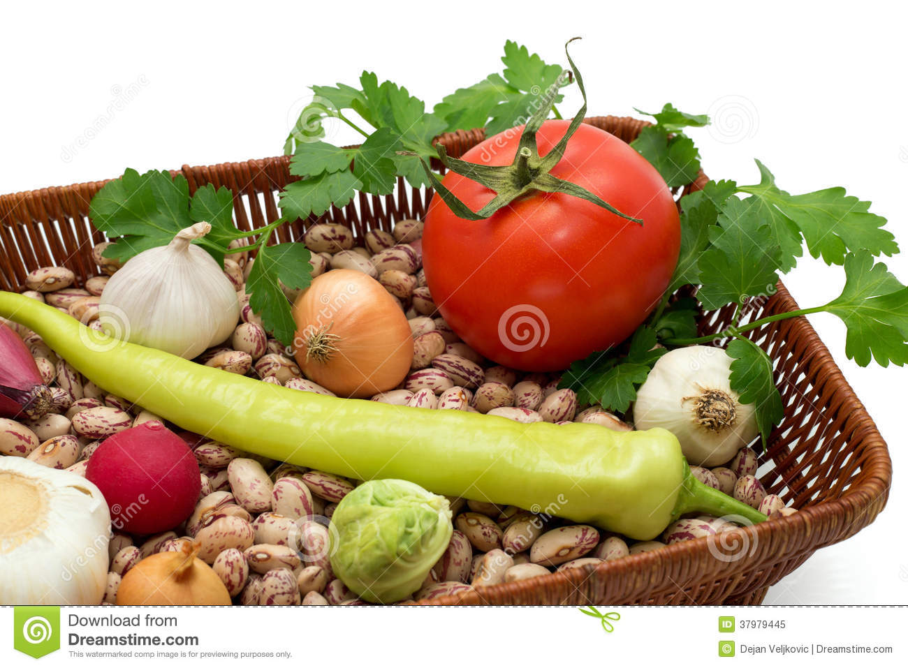 A Basket Full Of Beans, Onion, Garlic With Green Peppers ...