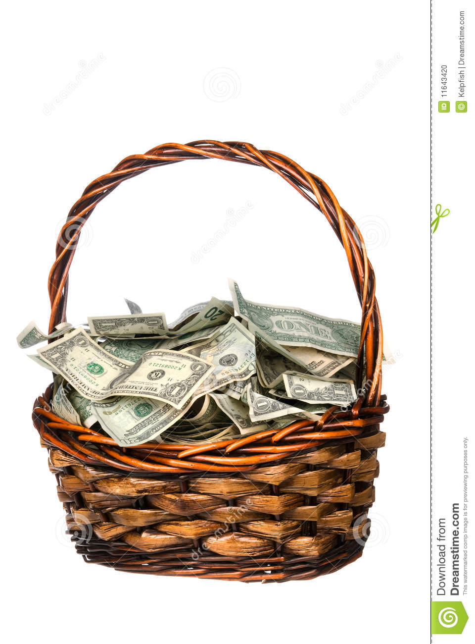 basket full of cash stock photo image 11643420. Black Bedroom Furniture Sets. Home Design Ideas