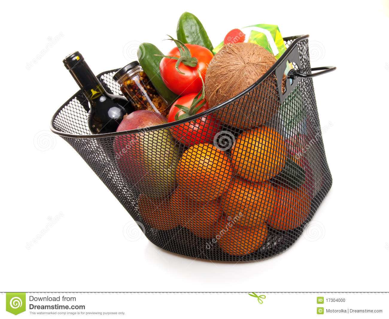 Basket full of fresh colorful vegetables