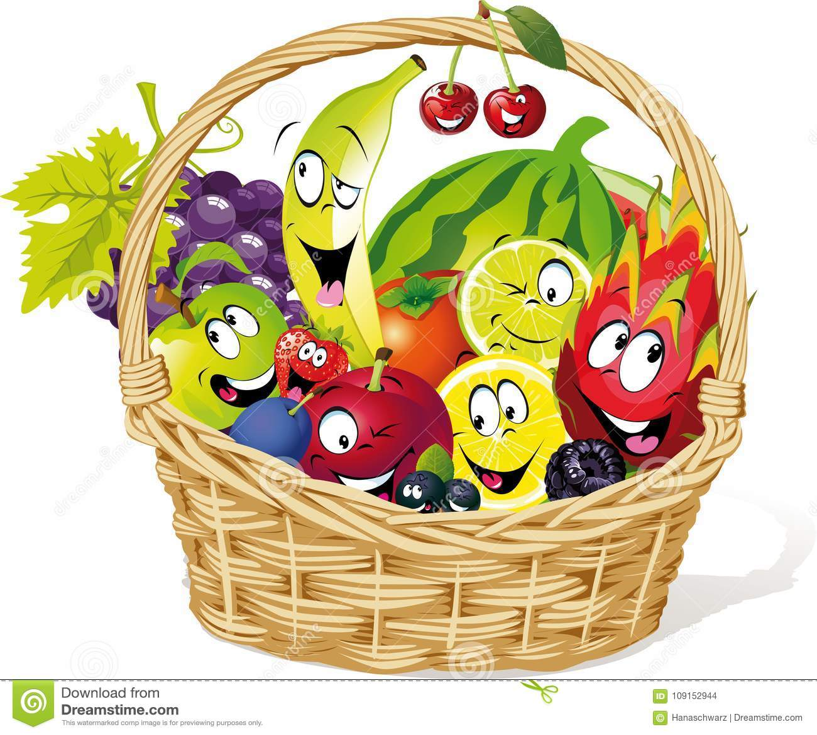 Basket Full Of Fruit Character Cartoon Vector Illustration Stock