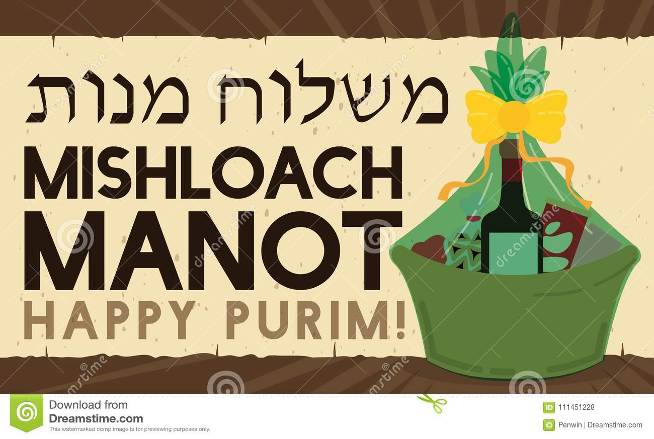 Basket Full With Snacks Over A Scroll For Purim Celebration Vector