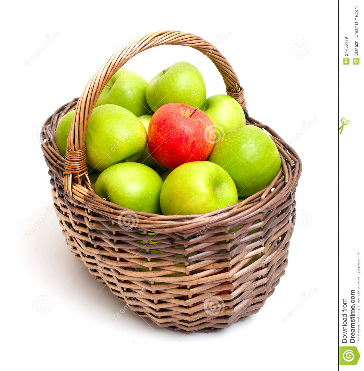 green and red apples in basket. basket green isolated one red and apples in p