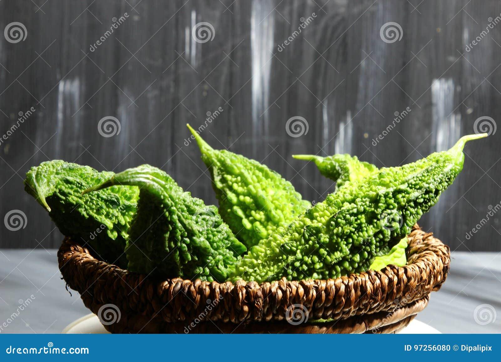 A Basket Of Green Bitter Gourd Or Karela, A Bitter Fruit