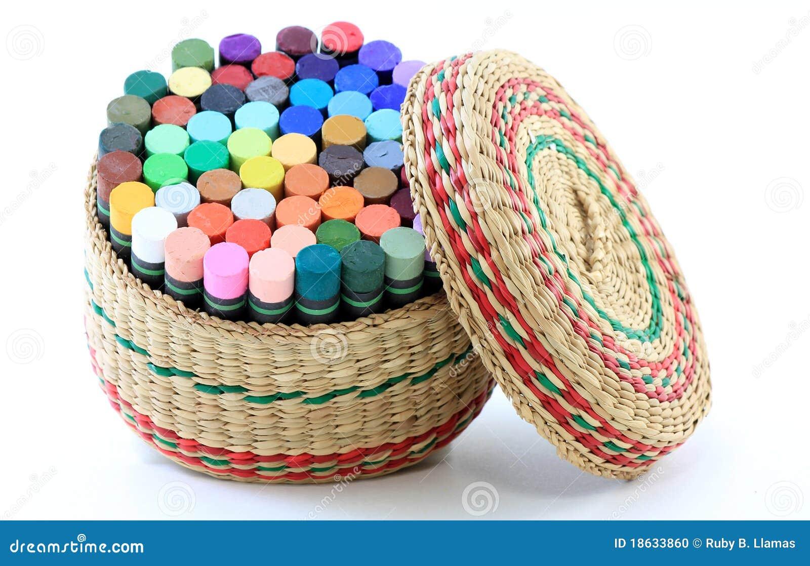 basket of pastel crayons stock photo image 18633860. Black Bedroom Furniture Sets. Home Design Ideas