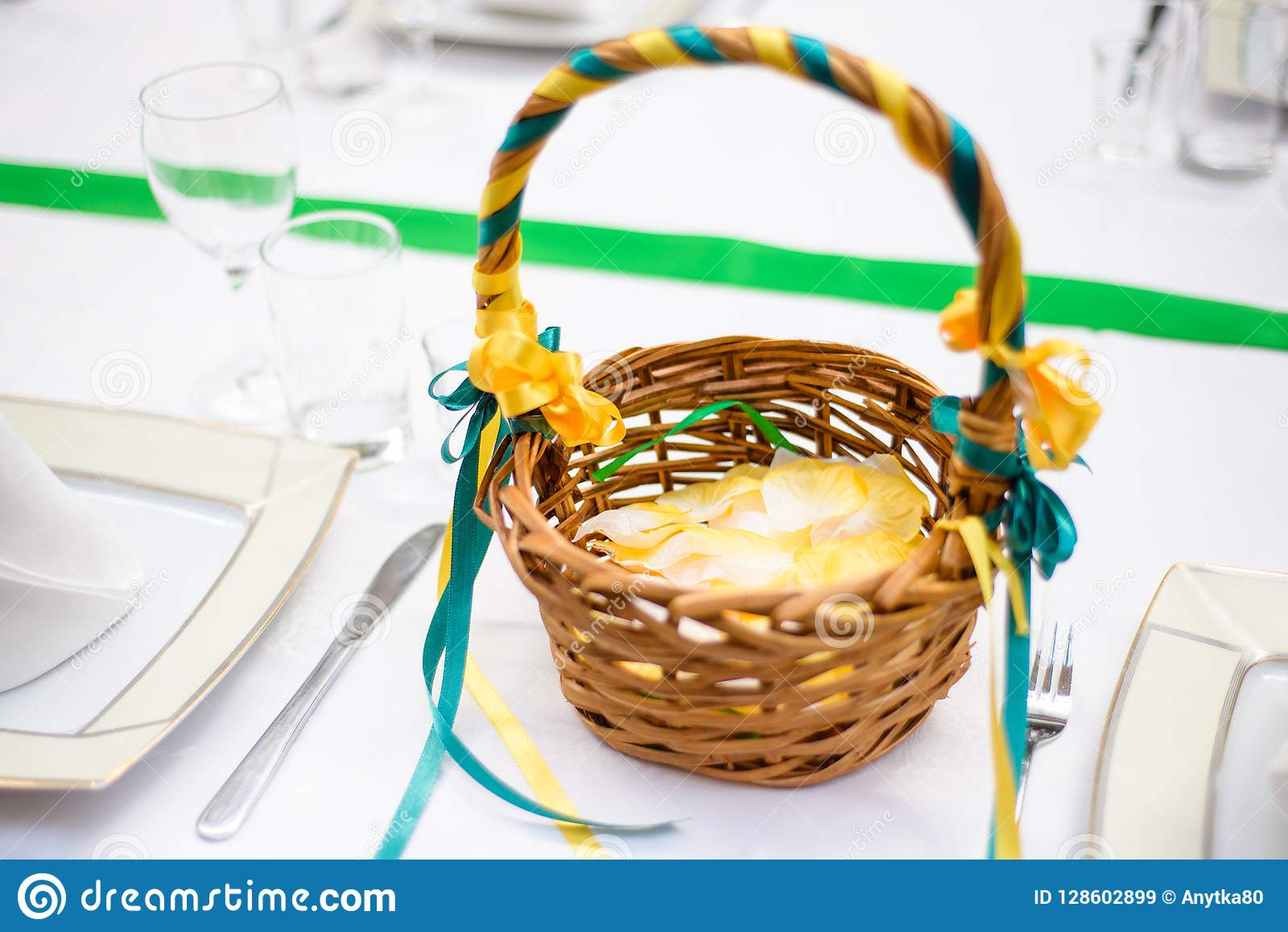 Basket With Petals Decor For A Wedding Stock Image Image Of Elegant Food 128602899