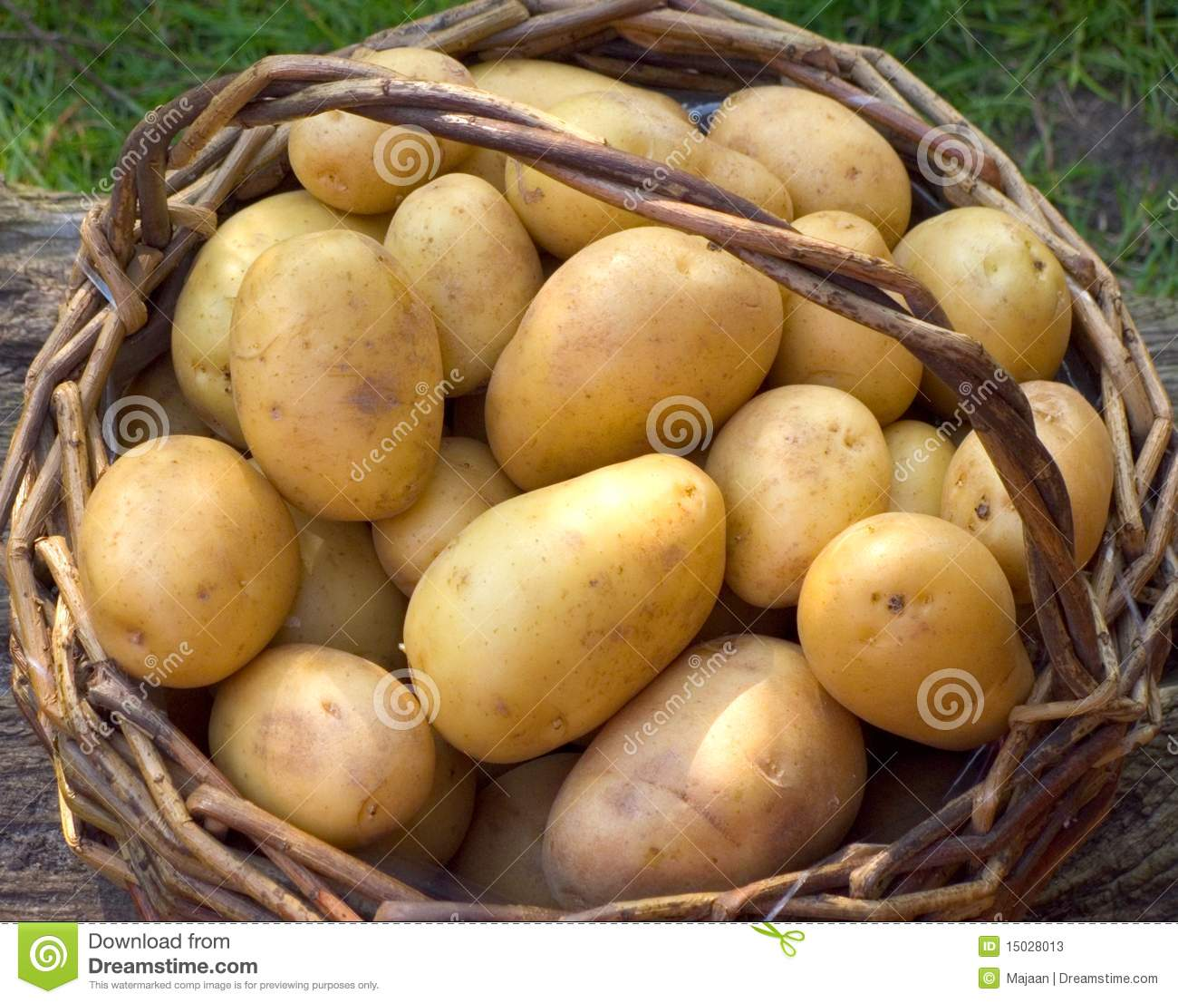 Basket with potatoes