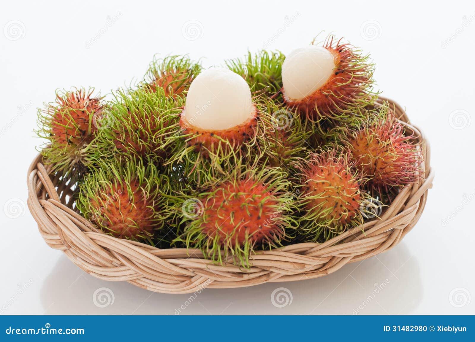 basket of red hairy rambutan fruits. stock photo - image of rambutan