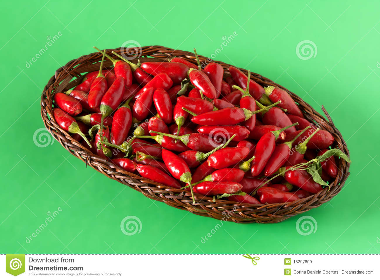 basket with red hot chili peppers stock image image. Black Bedroom Furniture Sets. Home Design Ideas