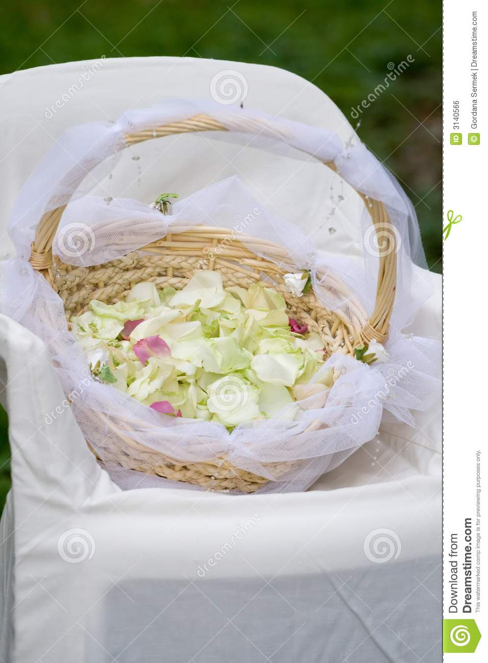 Basket with rose petals