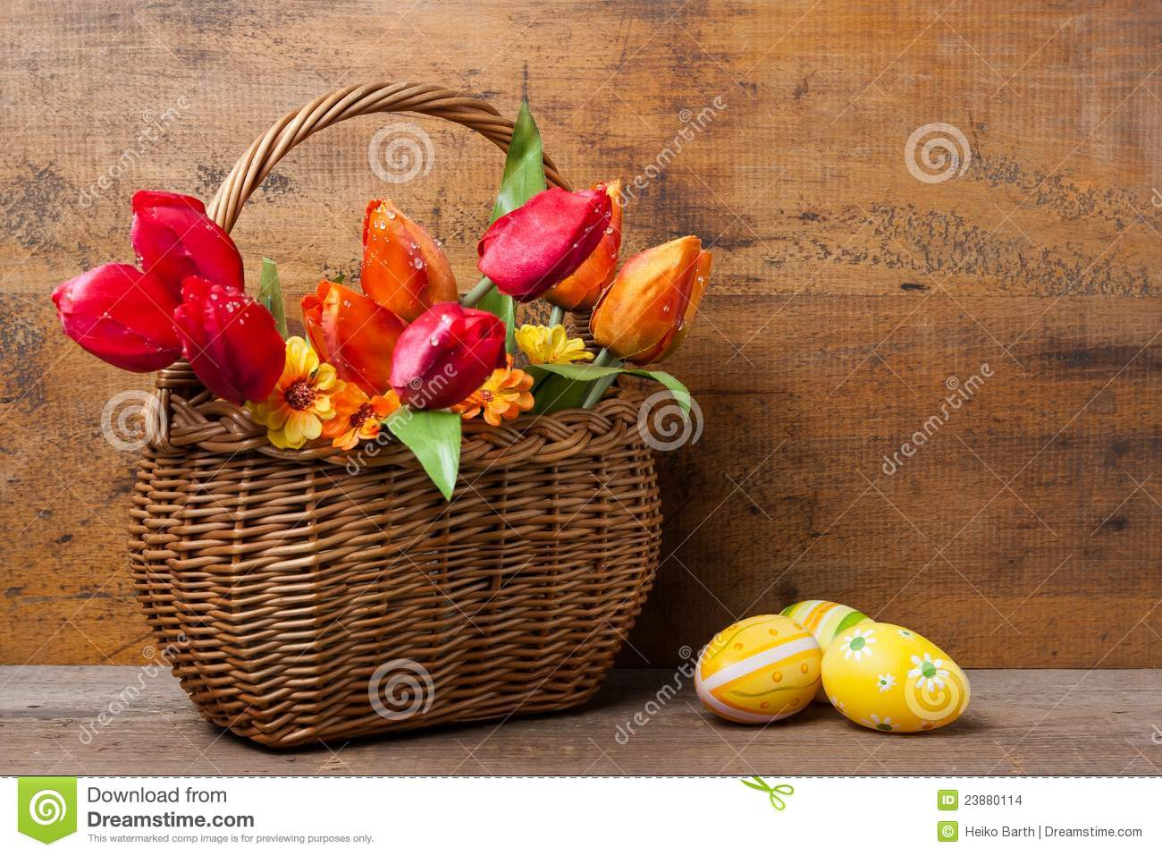 Basket with tulips and eggs