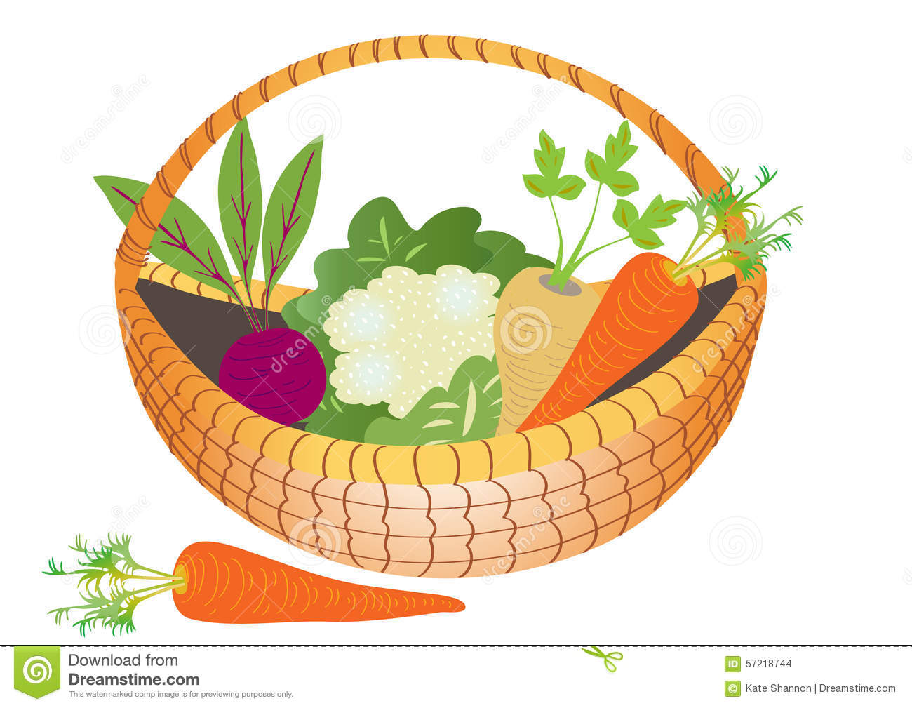 A Basket Of Vegetables Stock Vector - Image: 57218744