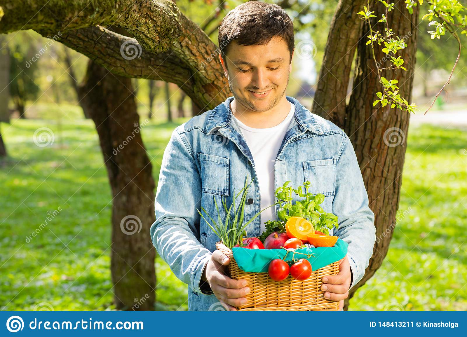 Basket with vegetables and fruits in the hands of a farmer background of nature. Concept of healthy lifestyle