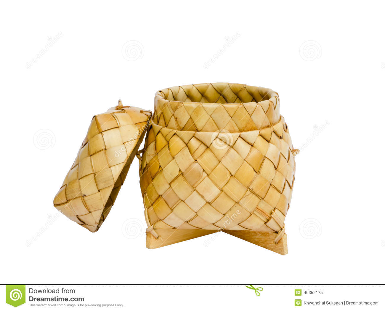 Basket Weaving With Leaves : A basket weave pattern with palm leaves stock photo