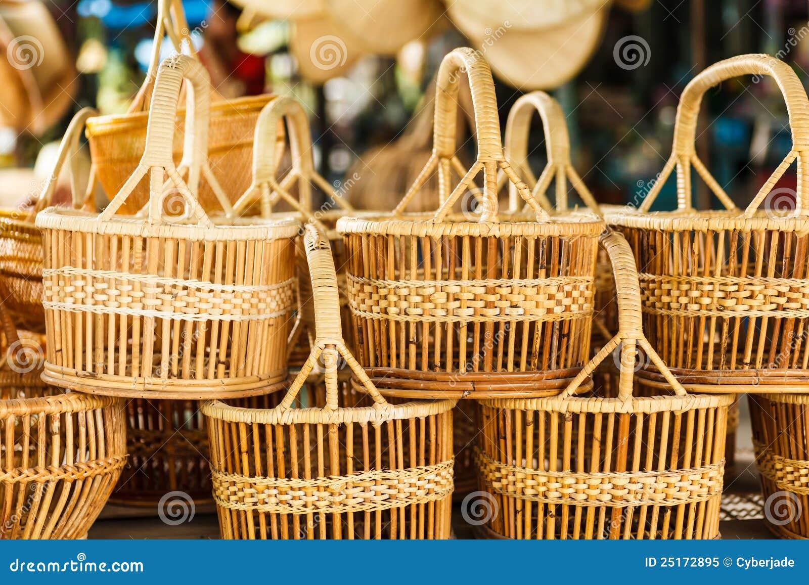 Thailand handmade baskets : Basket wicker is thai handmade royalty free stock photo