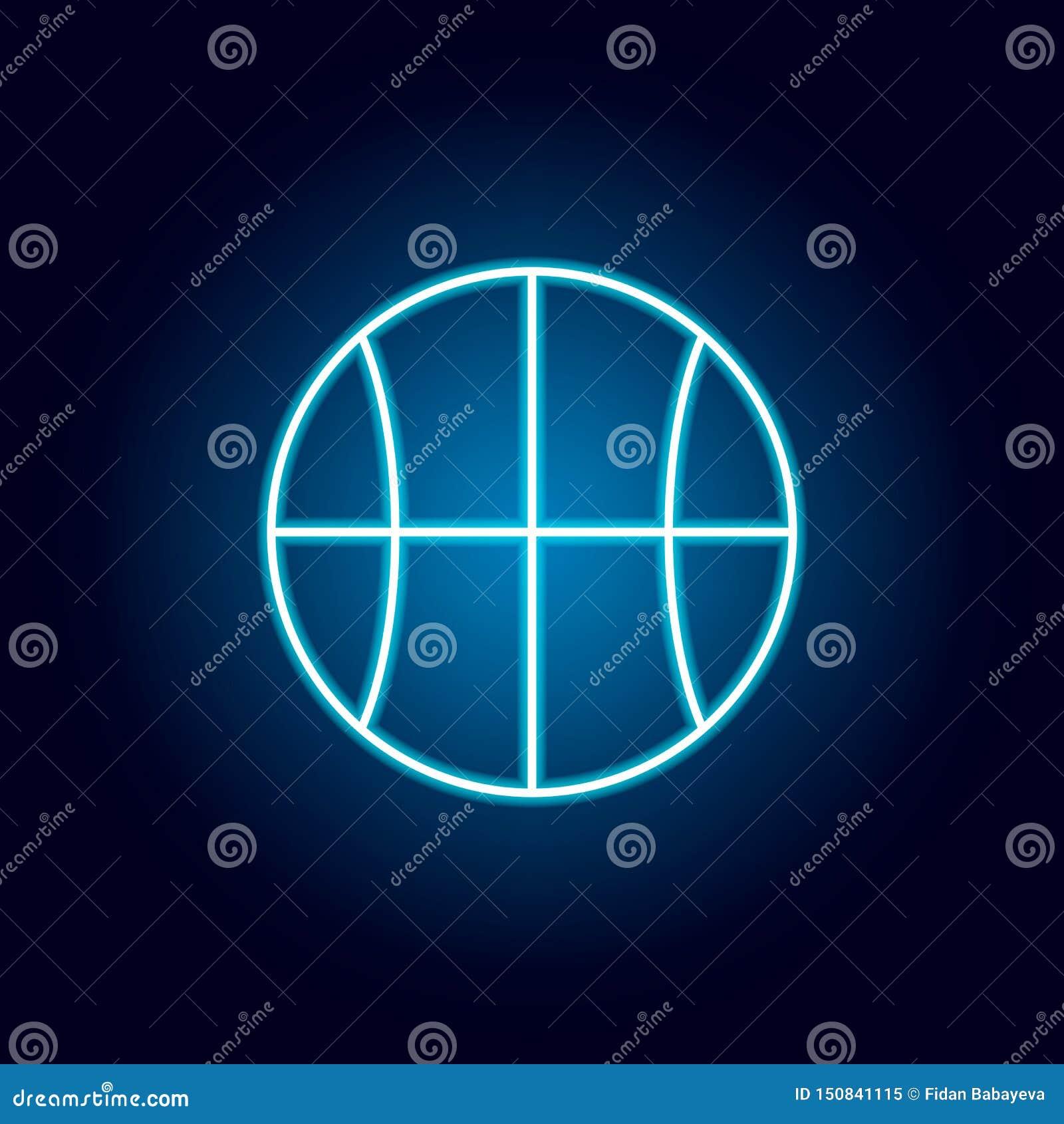 Basketbal, bal, het pictogram van het sportoverzicht in neonstijl elementen van de lijnpictogram van de onderwijsillustratie de t