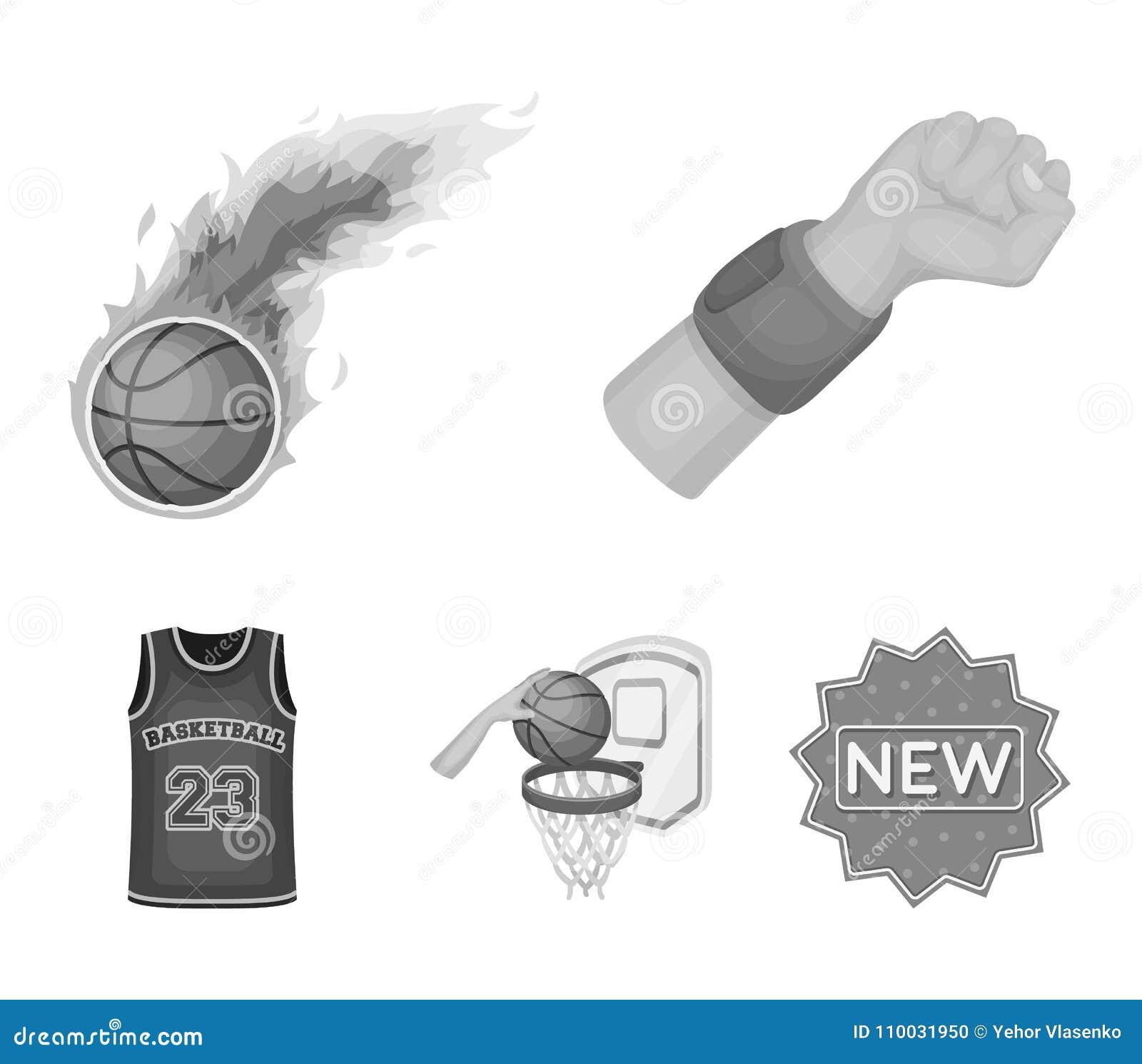Basketbal en attributen zwart-wit pictogrammen in vastgestelde inzameling voor ontwerp Basketbalspeler en materiaal vectorsymbool