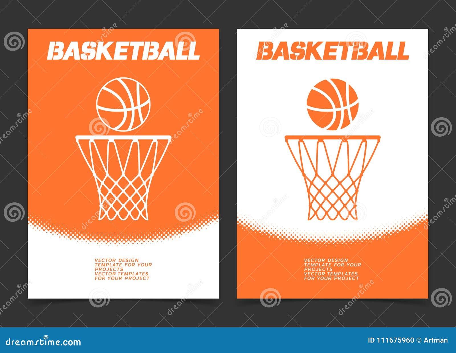 Basketbalbrochure of het ontwerp van de Webbanner met bal en hoepelpictogram
