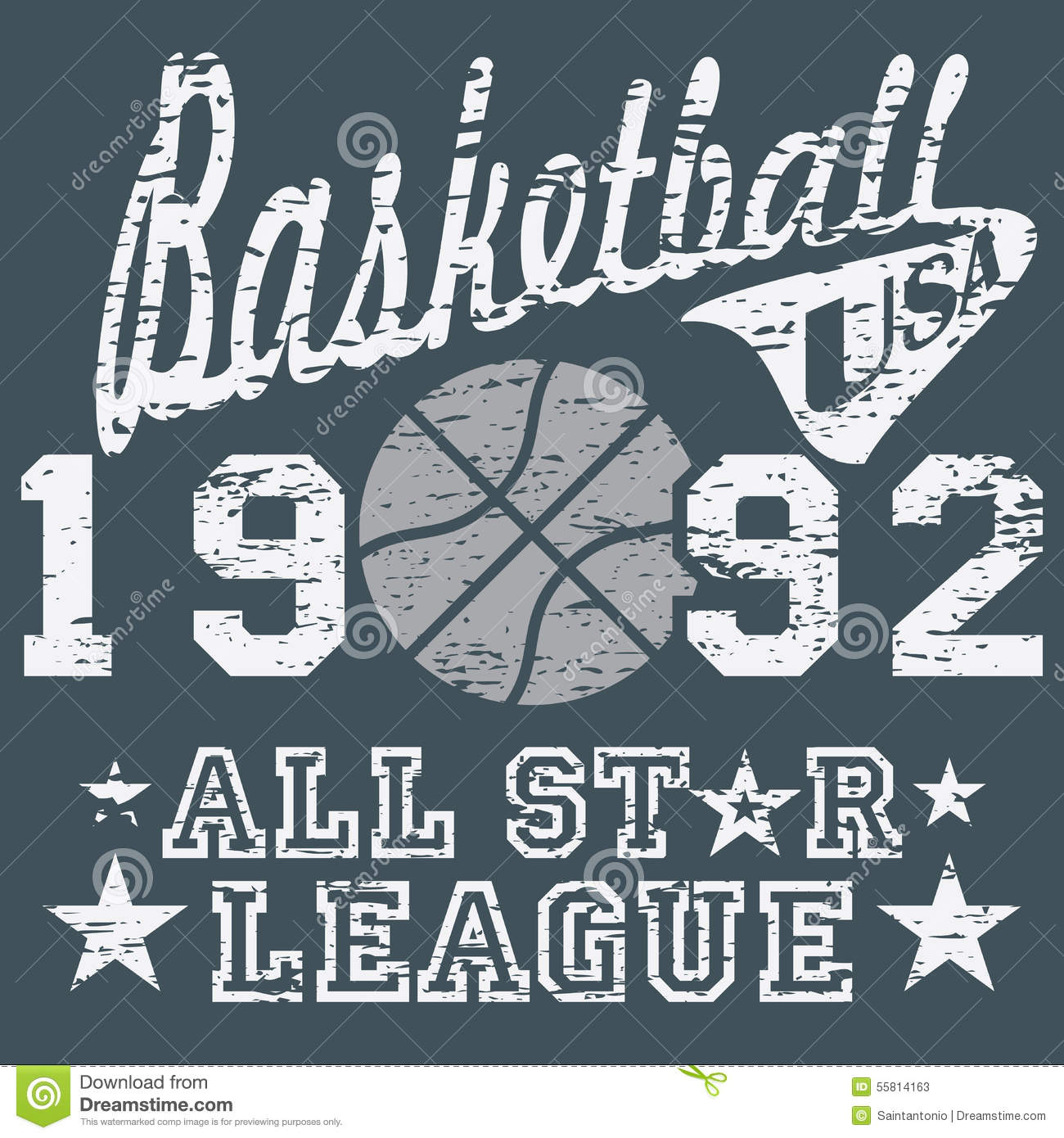 Design t shirt label - Basketball All Star League Artwork Typography Poster T Shirt Printing Design Vector