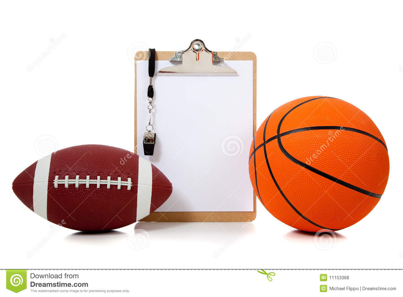 basketball and American football with coach's clipboard with whistle ...