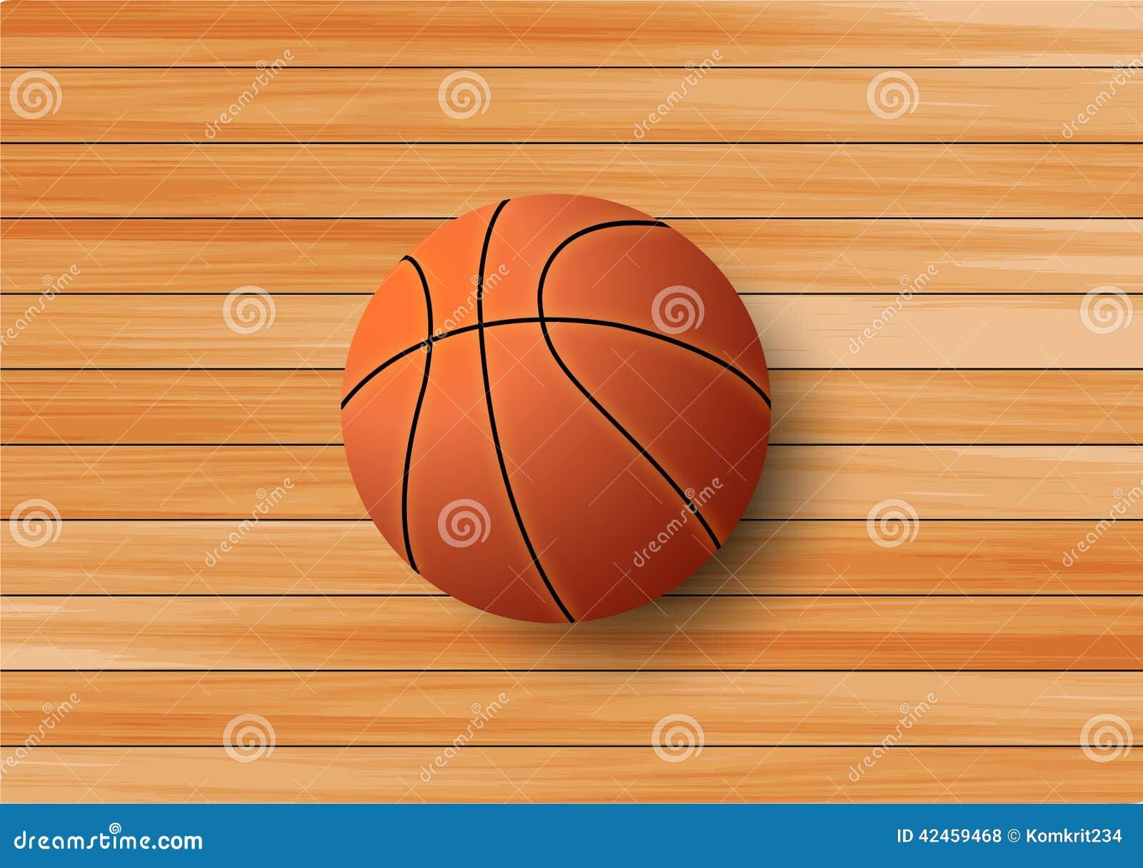Basketball auf dem Massivholzbodenhintergrund