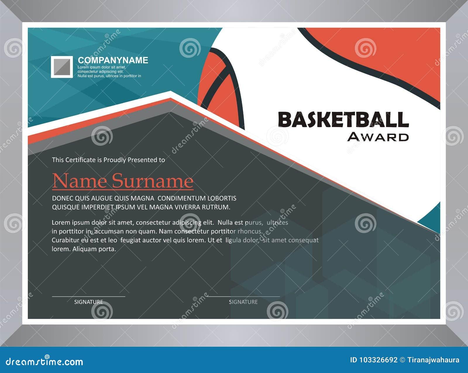Basketball Award Diploma Template Design Stock Vector