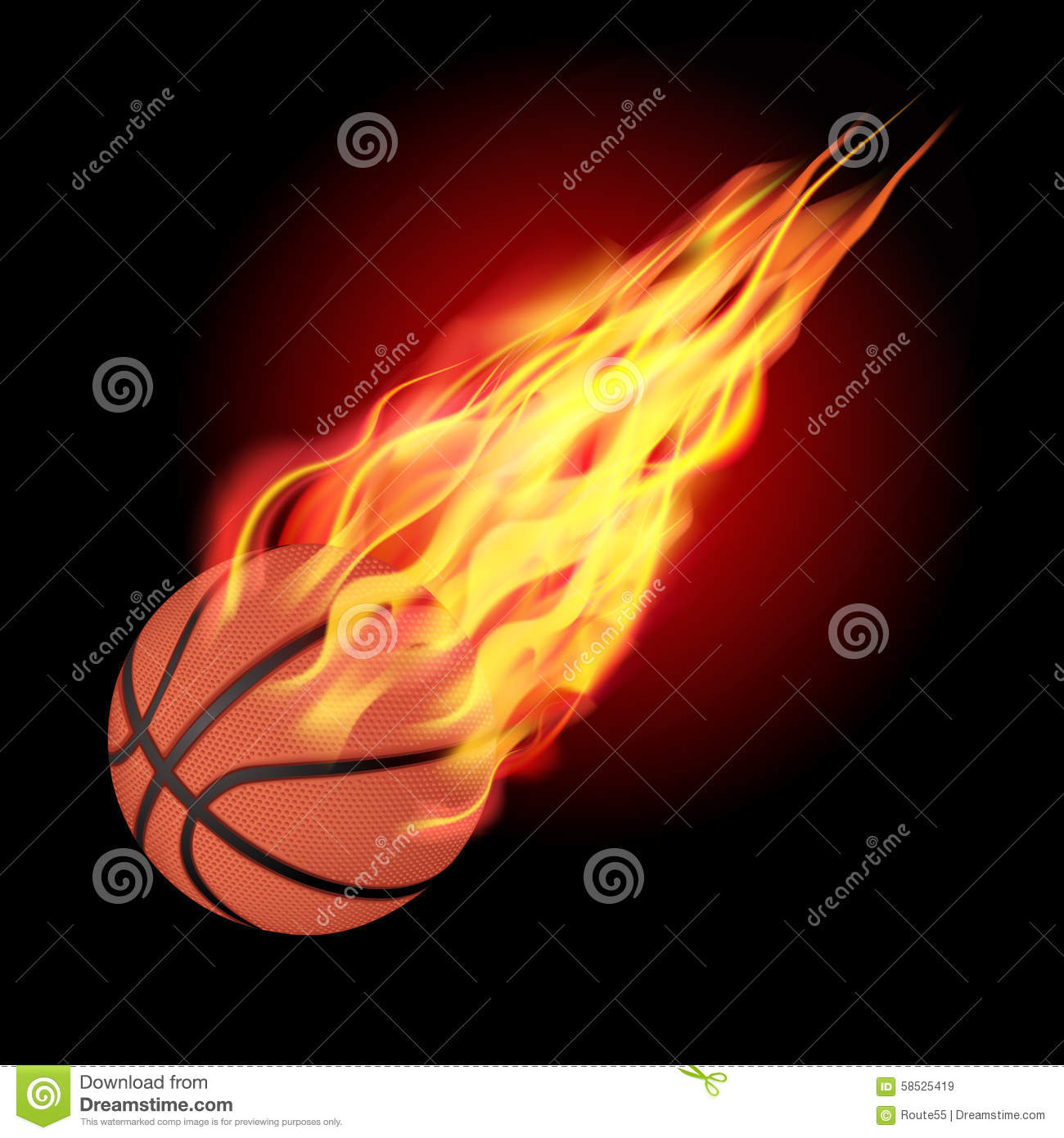 Basketball Ball In Fire Stock Vector - Image: 58525419