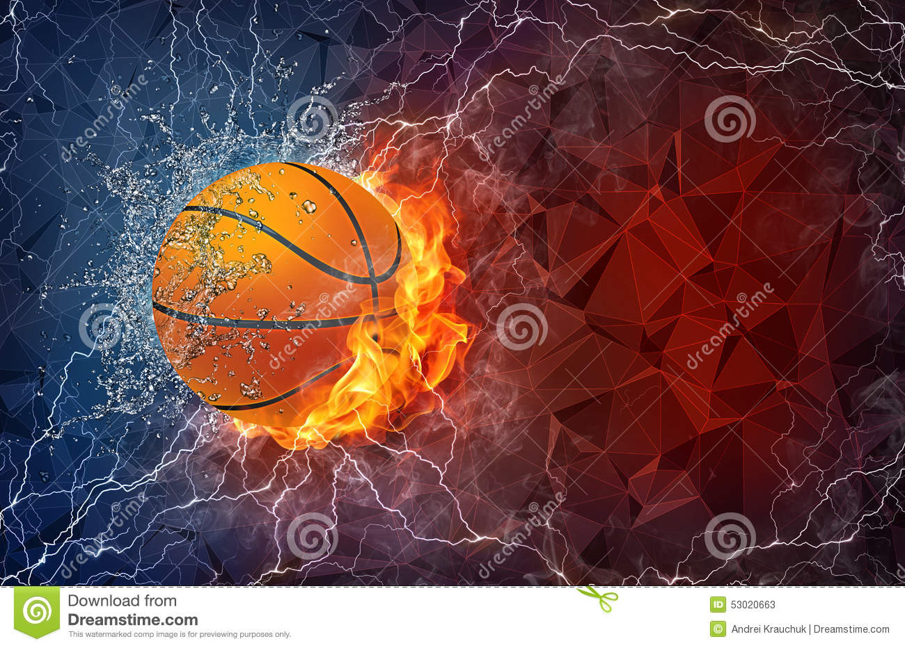Deportes Pelotas Fondo Grunge: Basketball Ball In Fire And Water Stock Illustration