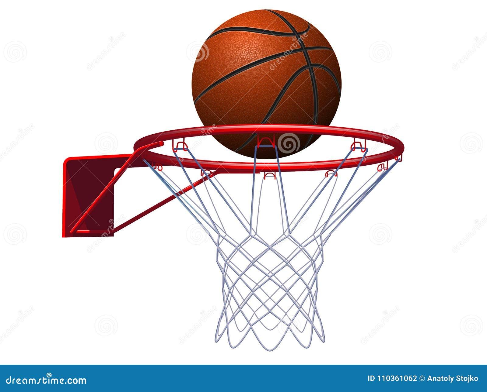 Basketball ball and hoop. Vector Illustration.