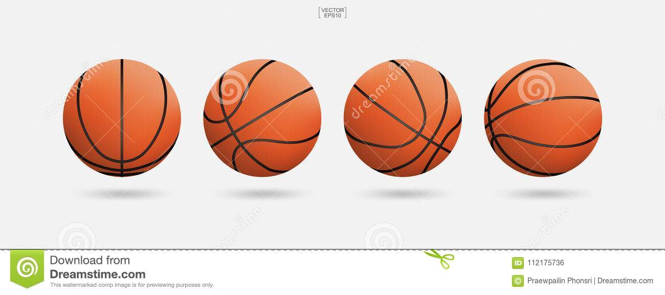 Basketball ball isolated on white background. Vector illustration.