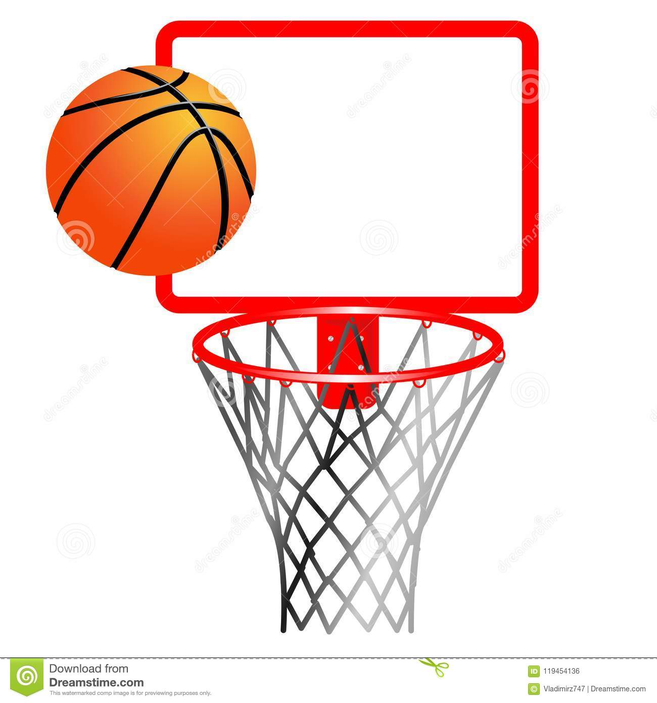 Basketball Ball And Ring With Net Stock Vector ...