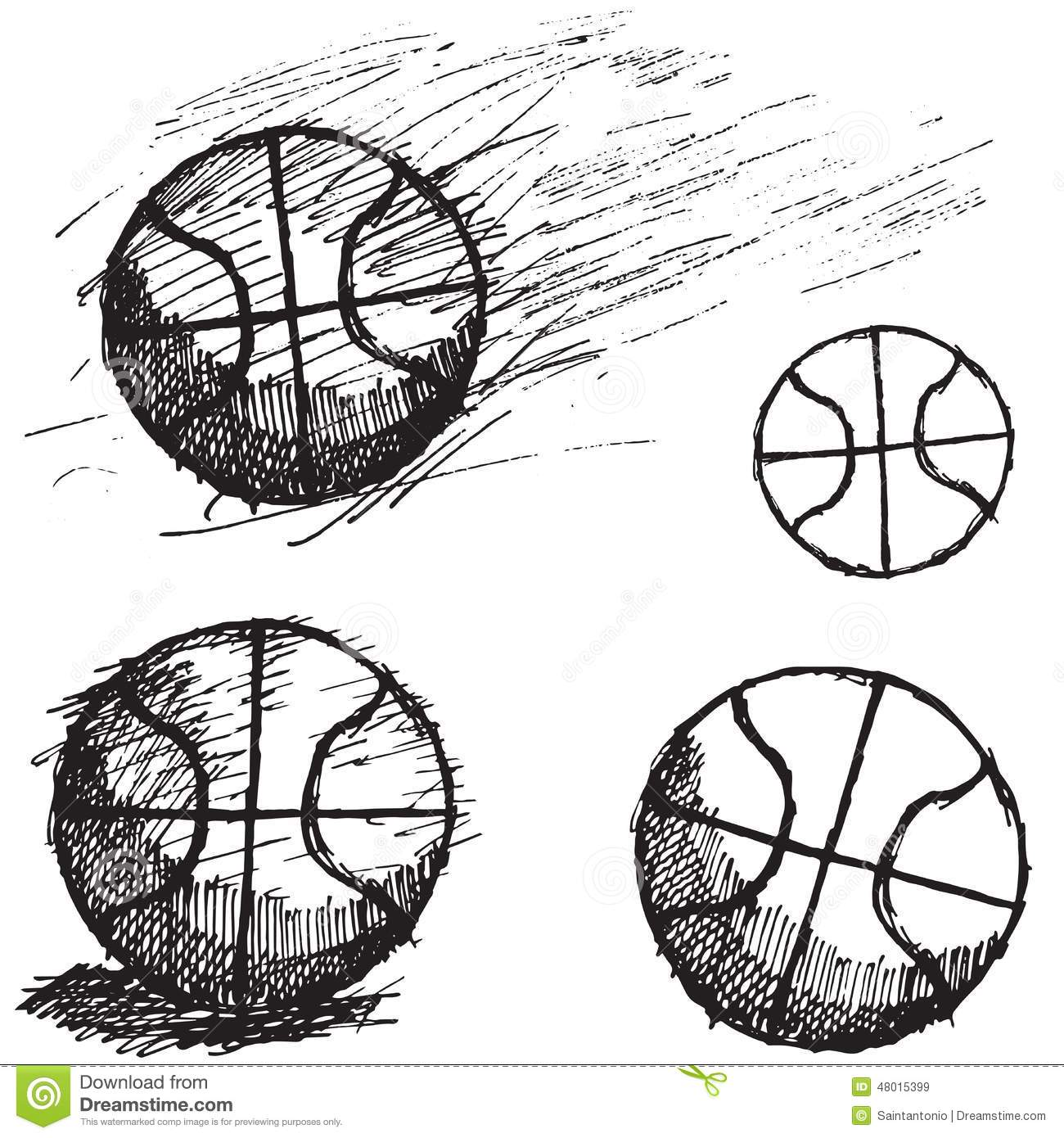 Basketball Ball Sketch Set Isolated On White Background Stock Vector - Image 48015399
