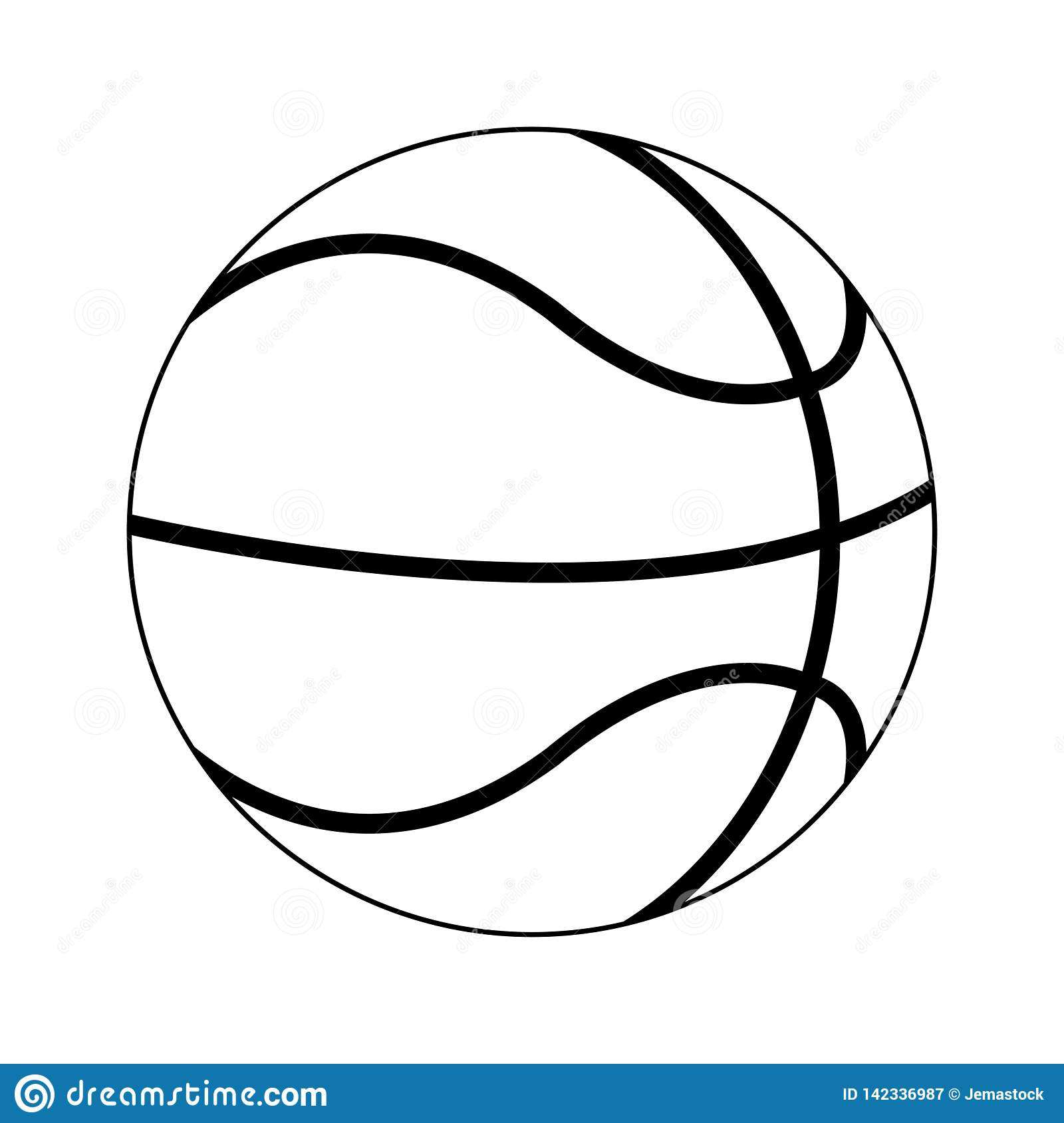 Basketball Ball Sport Cartoon In Black And White Stock Vector Illustration Of Sportive Style 142336987