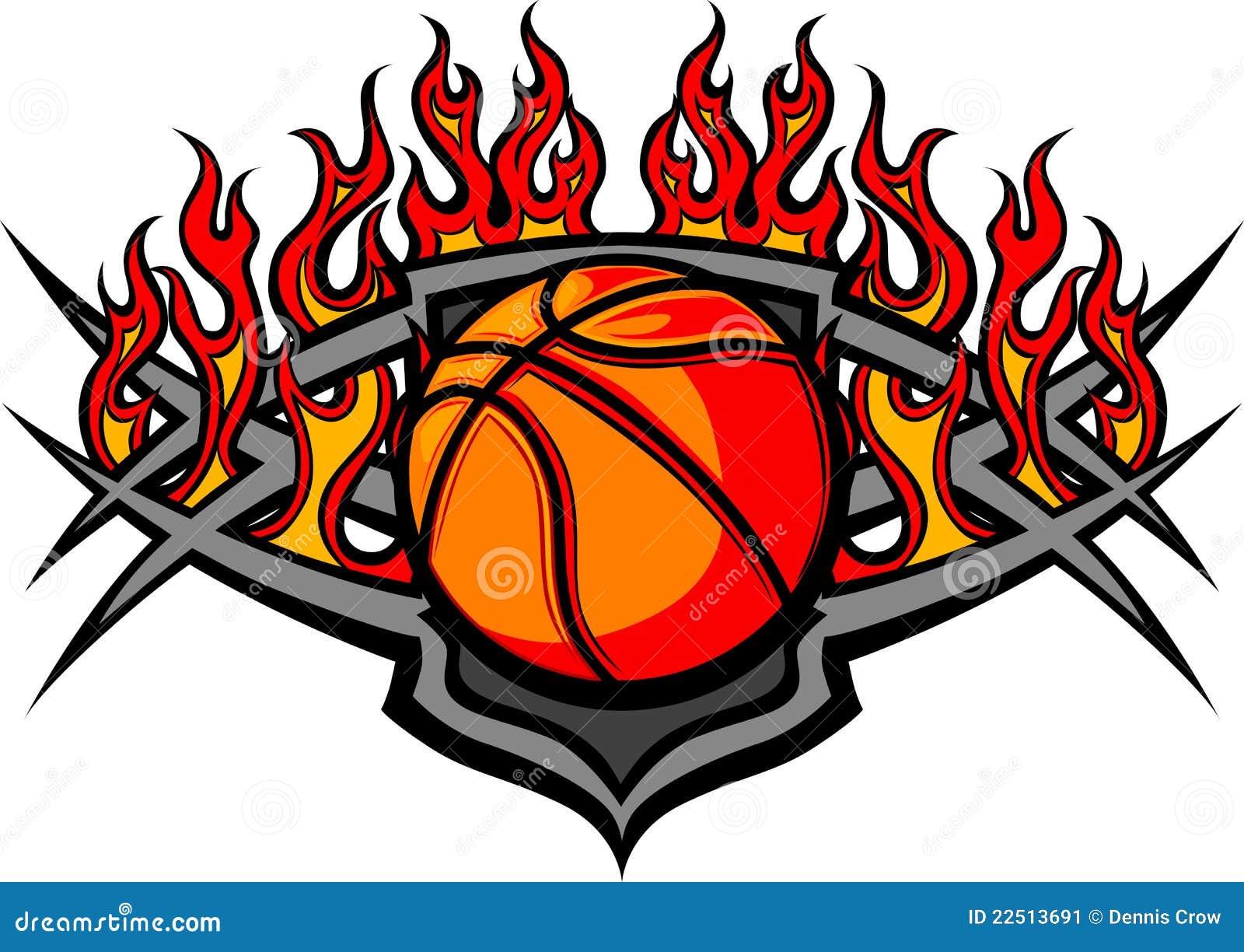 Basketball Ball Template With Flames Image Stock Image