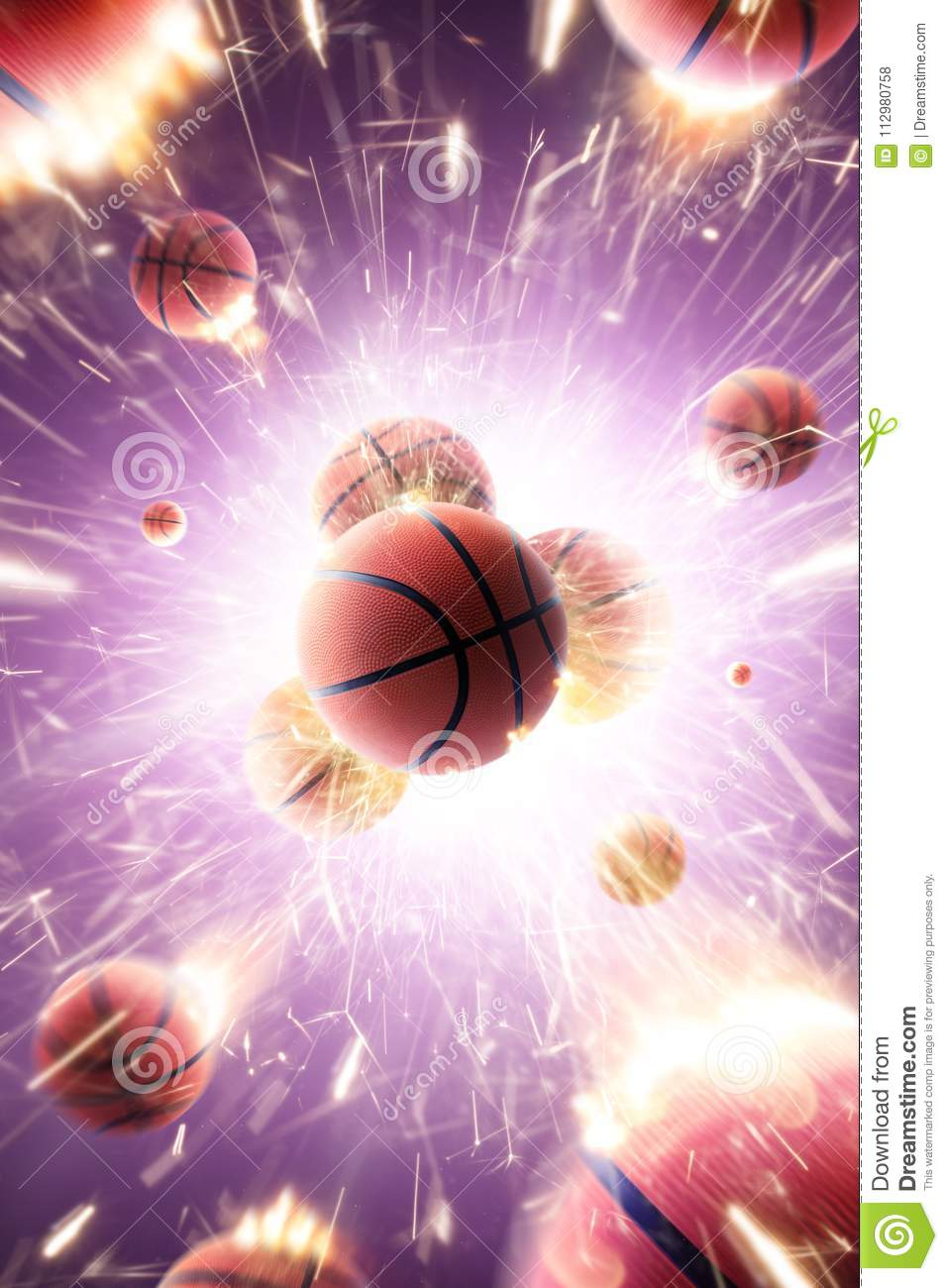 Basketball balls with fire sparks in action