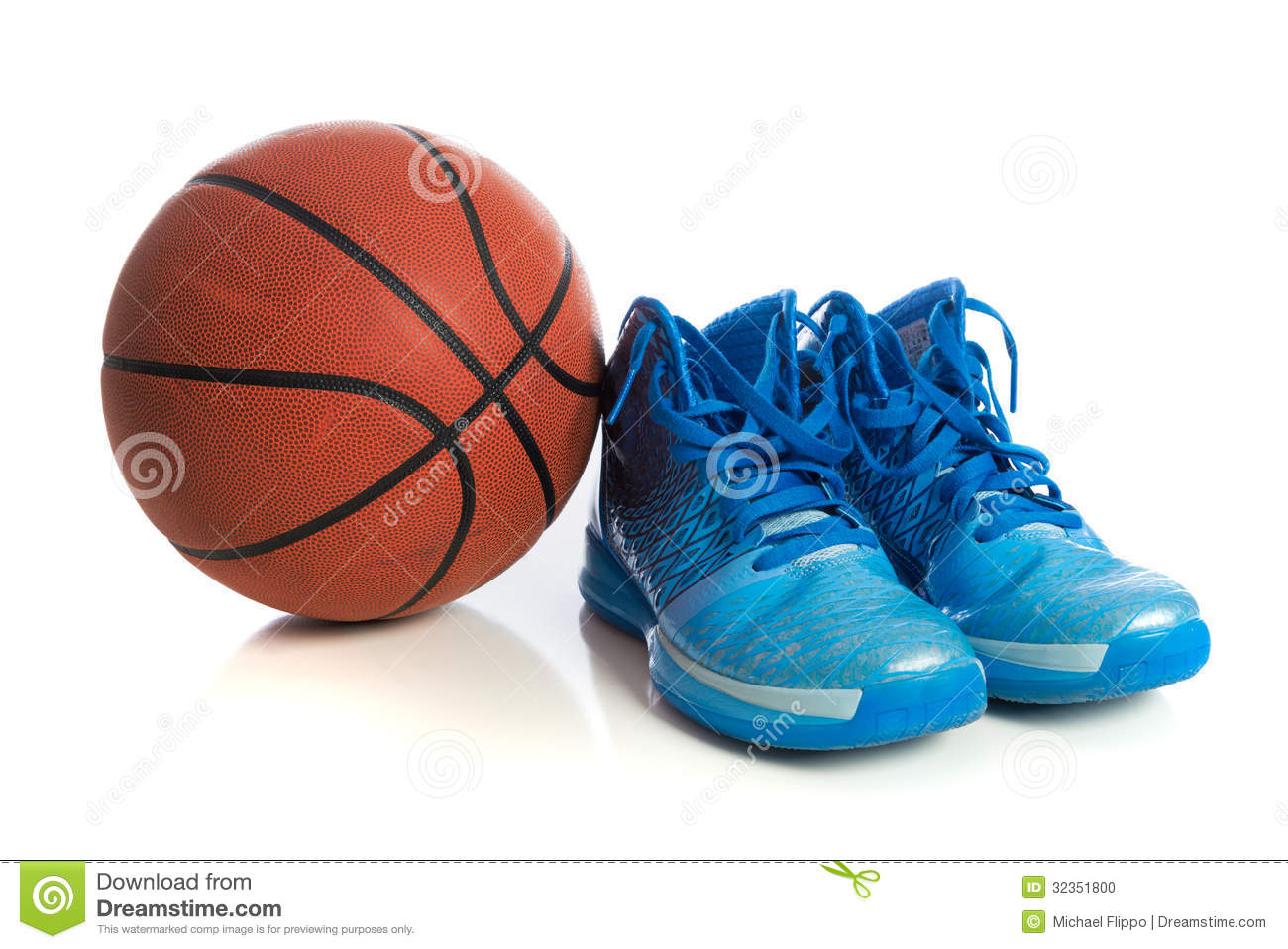 Basketball With Blue Basketball Shoes On White Stock Photo - Image ...